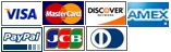 Visa, Master, Discover, Amex, Paypal, JCB & Diners